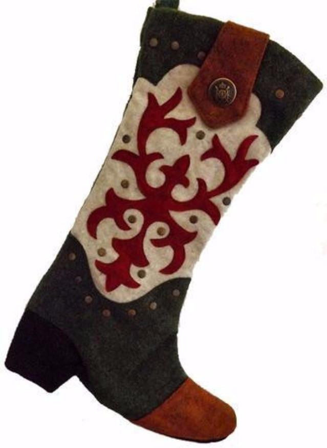 green and white cowboy boot christmas stocking western country decor - Country Christmas Stockings