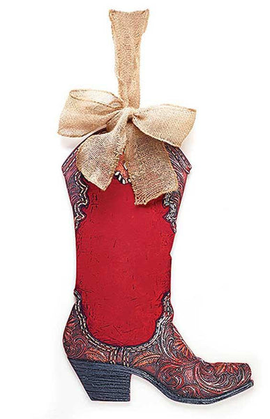 Large Red Cowboy Boot Ornament