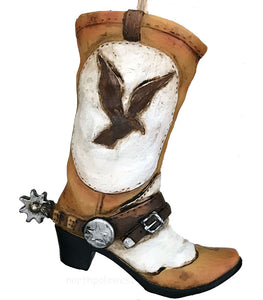 cowboy boot with spur and eagle design in old west colors Christmas ornament -great for crafts and cake decor too from North Pole West