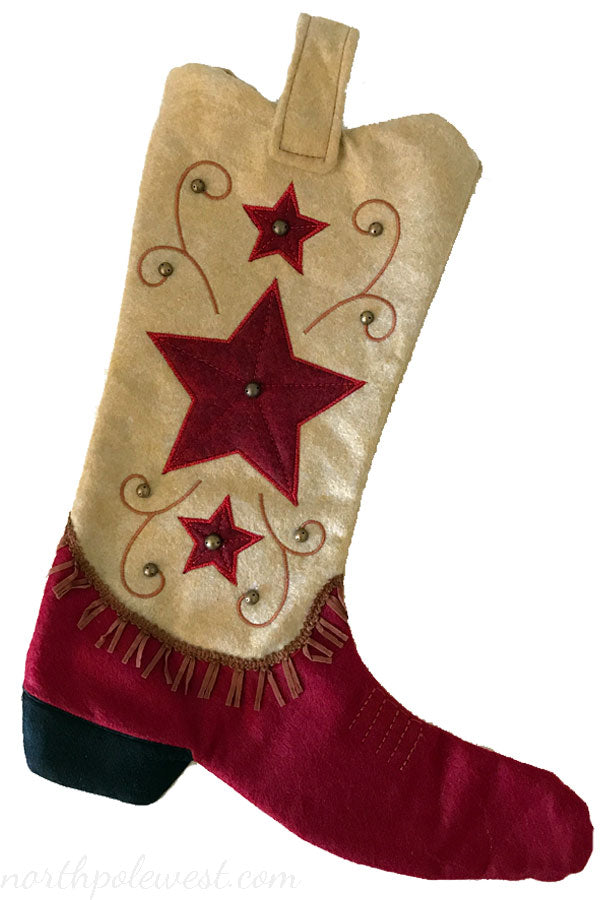 Tan and red colored cowboy boot Christmas stocking with star pattern from North Pole West