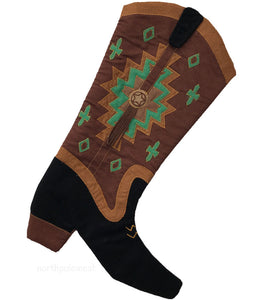 Brown and green Old Southwestern style cowboy boot Christmas stocking