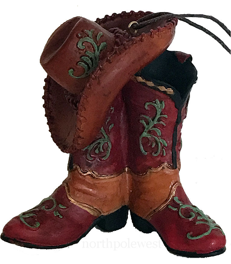 Cowboy Christmas ornament pair of mini cowboy boots and cowboy hat that look like real old leather from North Pole West