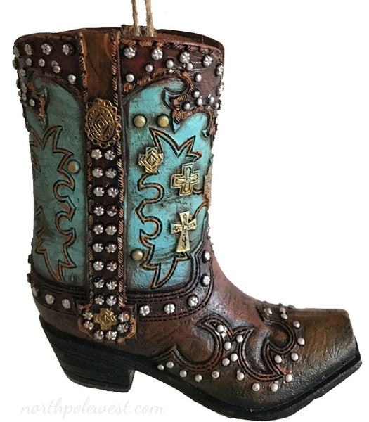 blue and brown cowboy boot Christmas ornament with stud accents from North Pole West