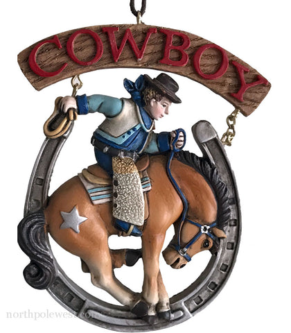 cowboy bronc buster in horseshoe rodeo cowboy Christmas ornament from North Pole West