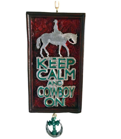 cowboy on horse western Christmas tree ornament with horseshoe and cross