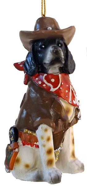 Very cute cowboy sheriff dog ornament with bandana, cowboy hat badge and holster