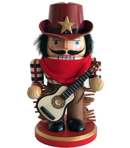 cowboy nutcracker with guitar country western Christmas decoration