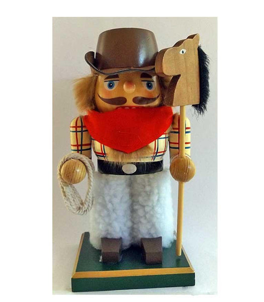 Cowboy Nutcracker with Stick Pony - Wild & Woolley Willie - North Pole West Cowboy Christmas