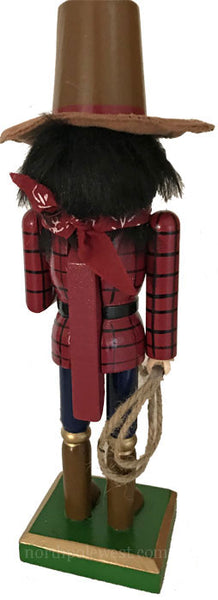 back of Cowboy Christmas nutcracker with red shirt and lasso from North Pole West