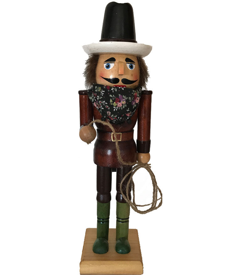 Handsome cowboy Christmas Nutcracker with brown shirt and lasso from North Pole West