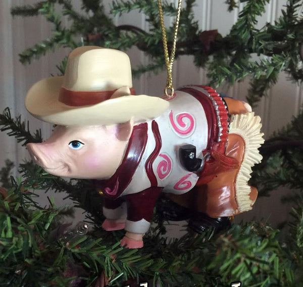 Cowboy Christmas Ornament or Valentine-cute pig dressed up like a cowboy
