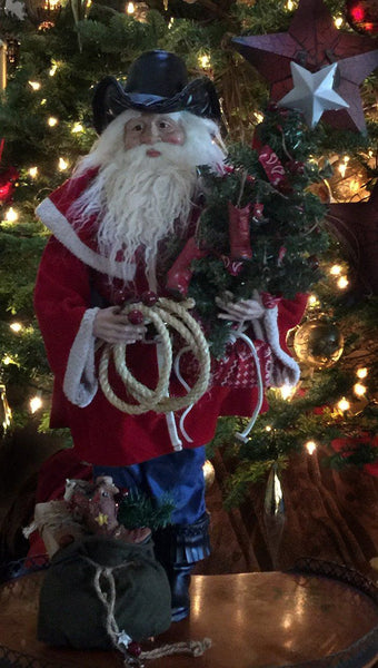 Cowboy Santa Western Christmas home decoration doll with mini Christmas tree with cowboy boot ornaments