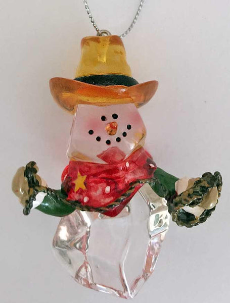 Cute cowboy snowman holding lasso from North Pole West