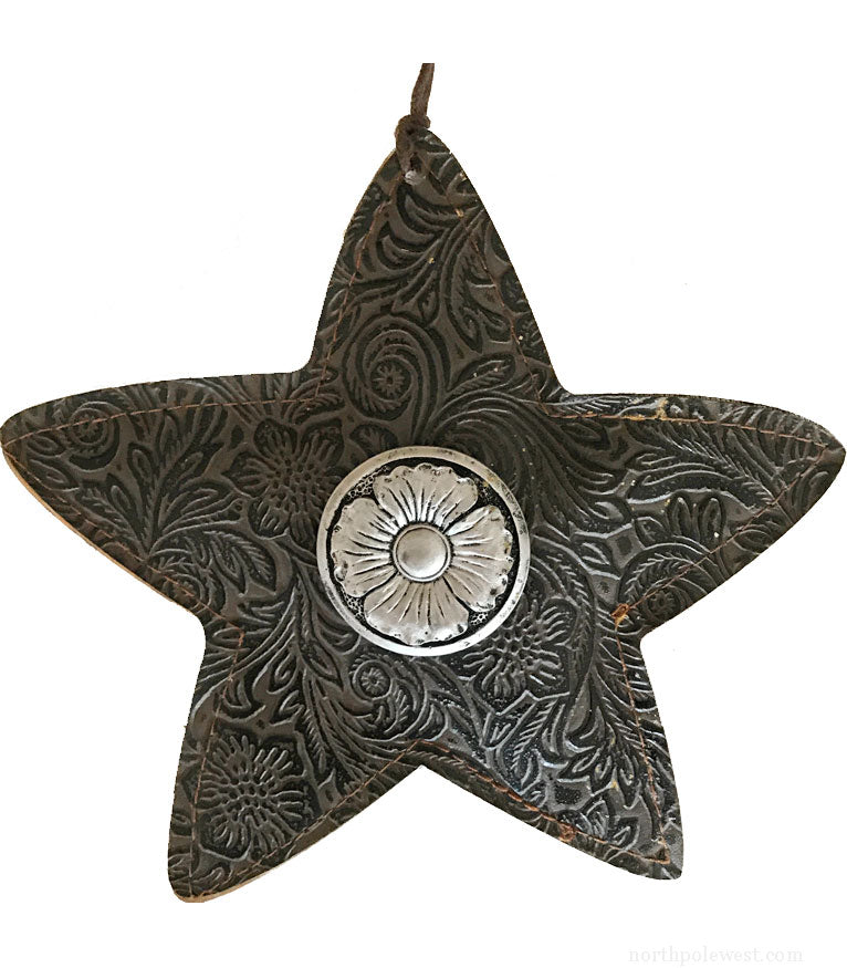 Faux tooled leather southwestern style brown star cowboy Christmas ornament from North Pole West