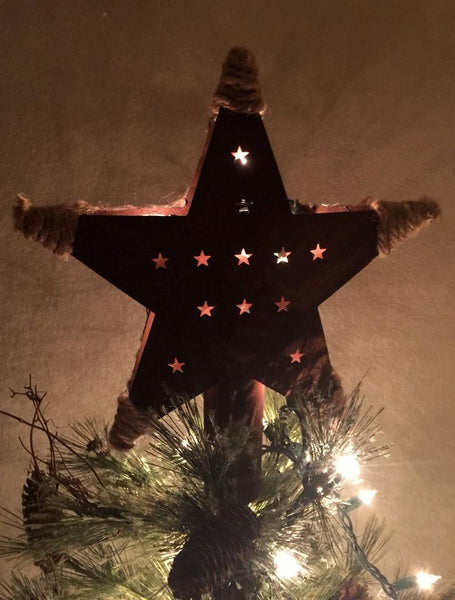 Cowboy country western Christmas tree topper. Denim and rusty tin, double sided.Reverse side.