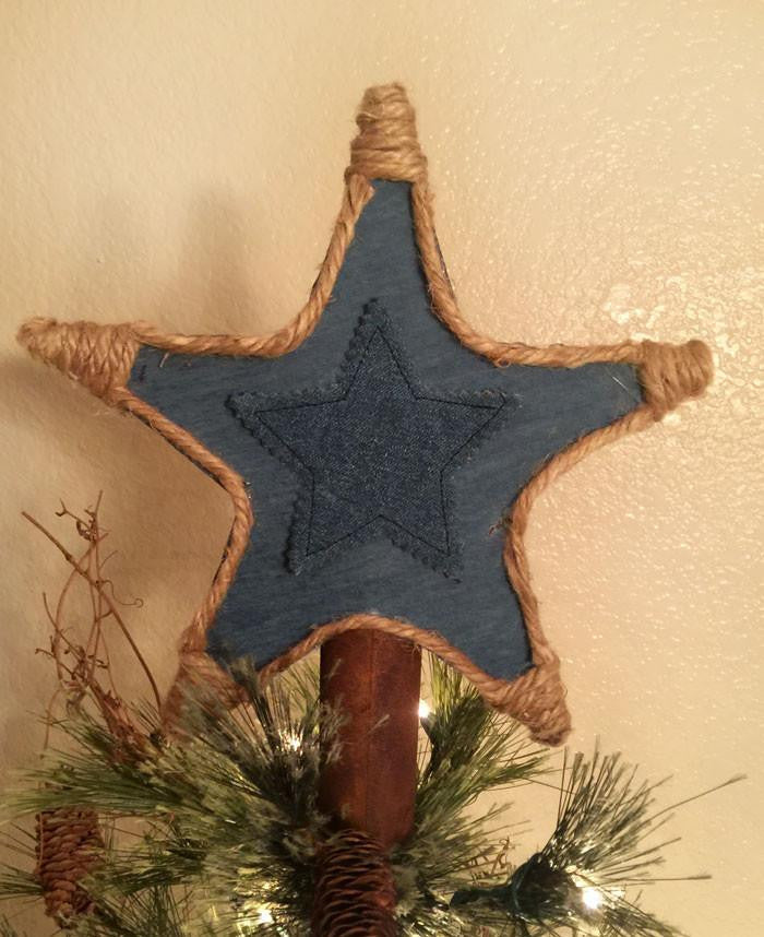 Cowboy country western Christmas tree topper. Denim and rusty tin, double sided.