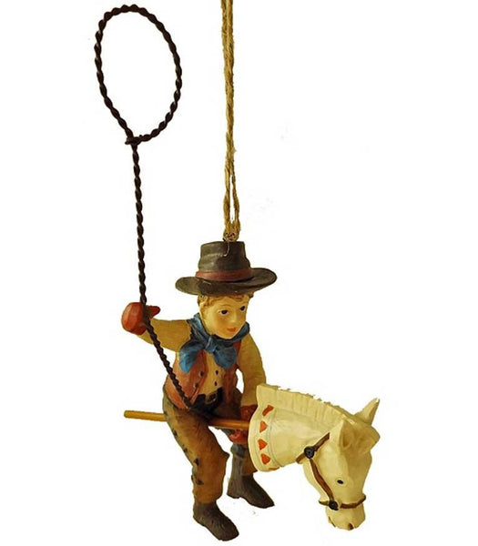 Vintage Style Cowboy with Stick Pony & Lasso Ornament - North Pole West Cowboy Christmas Store - 1