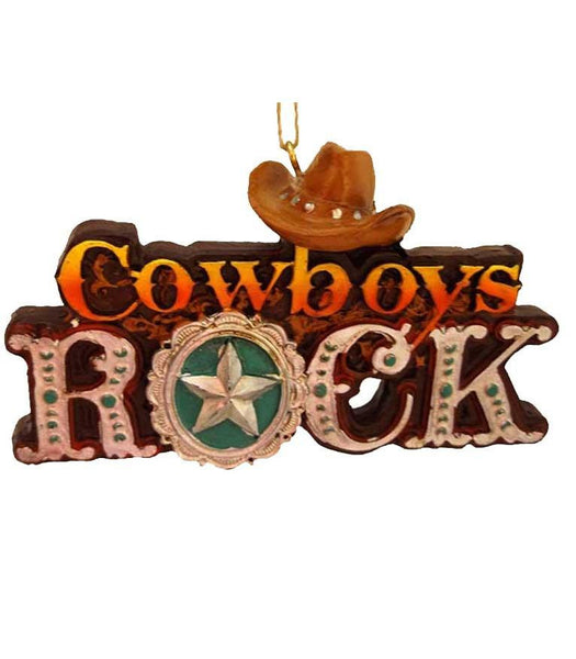 Cowboys Rock Christmas ornament with hat and star - cute cake topper too