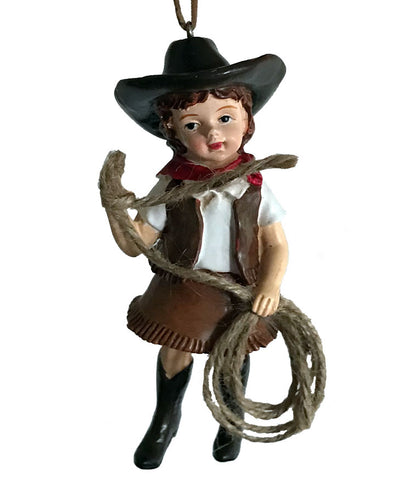 Cowgirl Christmas Ornament - vintage style young girl in dress up cowgirl outfit with lasso.