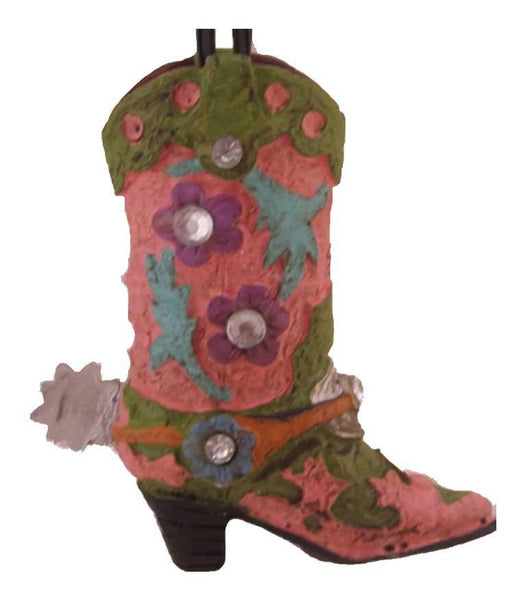 Pretty Pink Rhinestone Cowgirl Boot Ornament - North Pole West Cowboy Christmas