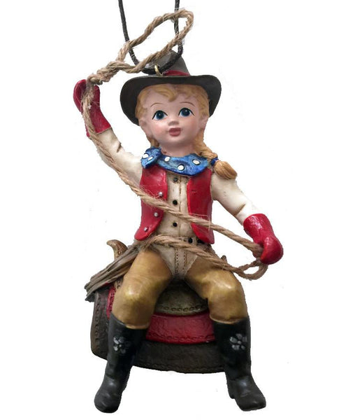 Cowgirl Christmas Ornament- Child on Saddle