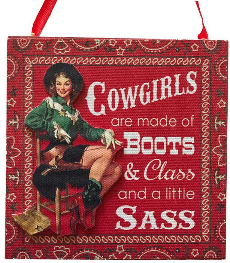 vintage style cowgirl red bandana sign Christmas ornament from North Pole West