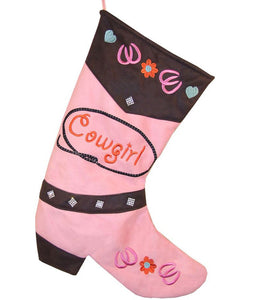 Cowboy Boot Christmas Stocking - Cowgirl Pink Horseshoes