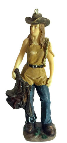Cowgirl with Saddle Christmas Ornament