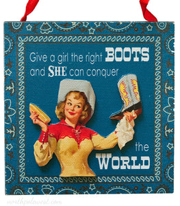 "vintage style cowgirl blue bandana sign Christmas ornament from North Pole West - says ""Give a girl the right boots and she can conquer the world"""
