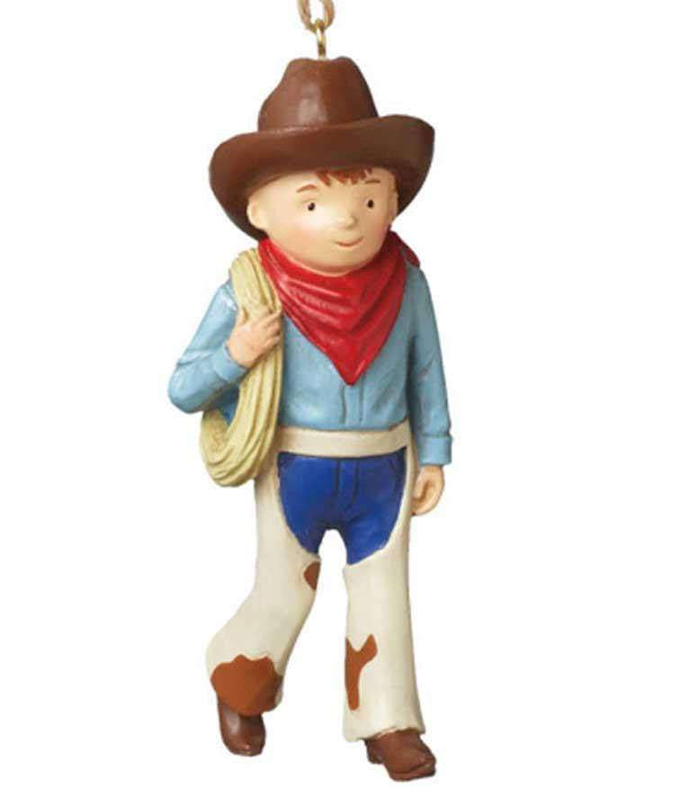 Cute Cowboy KId Ornament with Chaps and Lasso - North Pole West Cowboy Christmas