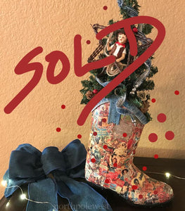 Cowboy boot Christmas tree with Dale Evan theme country western holiday decor from Cowboy Christmas Ranch