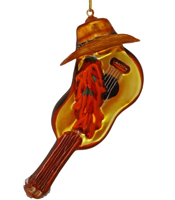 Guitar with Chili Peppers & Cowboy Hat Glass Ornament