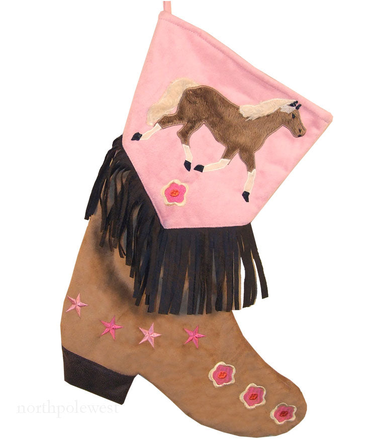 Vintage style pink cowgirl boot Christmas stocking with horse, flowers  and fringe from North Pole West