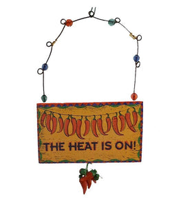 chili pepper southwestern sign ornament christmas decoration the heat is on north pole west - Southwest Christmas Decorations
