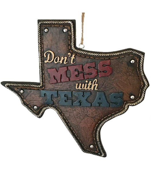 "Texas country western cowboy Christmas ornament in shape of state map with ""don't mess with Texas"" written on it."