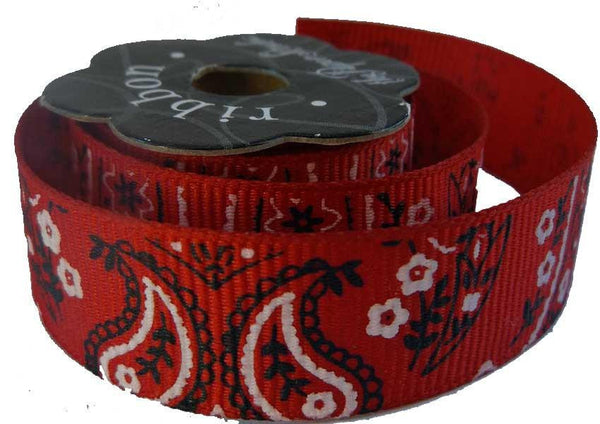 cowboy country western thin red bandana ribbon for Christmas or crafts
