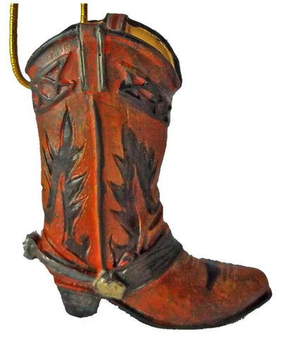 Mini Brown Cowboy Boot Christmas Ornament country western decoration - North Pole West Cowboy Christmas