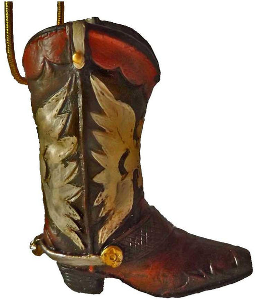 Mini Cowboy Boot Christmas Ornament western with Phoenix design country western decoration - North Pole West Cowboy Christmas