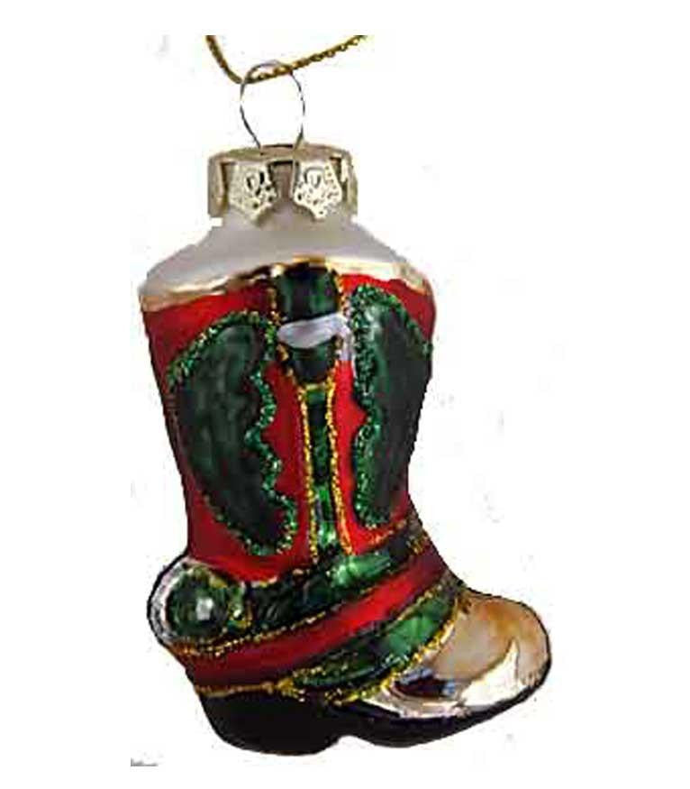 Mini Glass Boot Ornament - North Pole West Cowboy Christmas Store