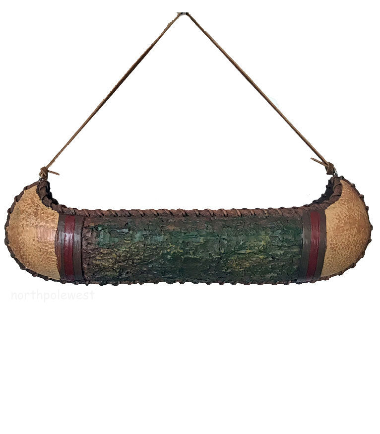 Rustic old west mini canoe Christmas ornament from North Pole West Cowboy Christmas Store