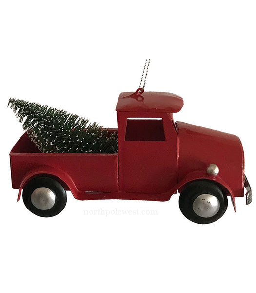 Cowboy country Christmas ornament  vintage style tin red pick-up truck with Christmas tree from North Pole West