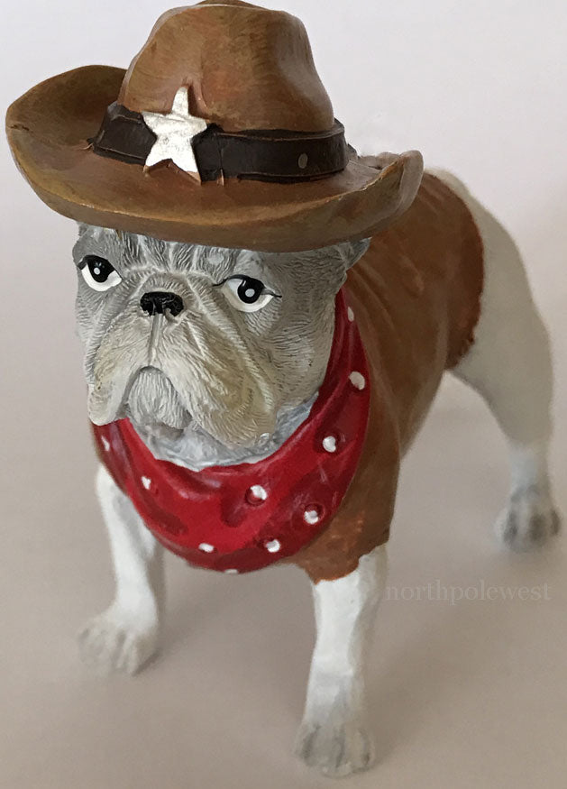 Pug dog dressed like a cowboy lawman western Christmas ornament from North Pole West