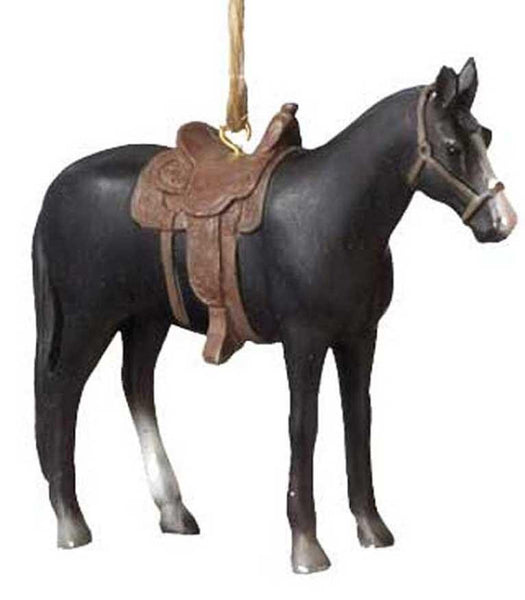 Rodeo Saddle Horse Ornament - Black - North Pole West Cowboy Christmas Store