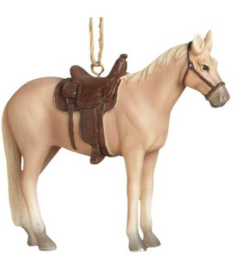 Rodeo Saddle Horse Ornament - Palomino - North Pole West Cowboy Christmas