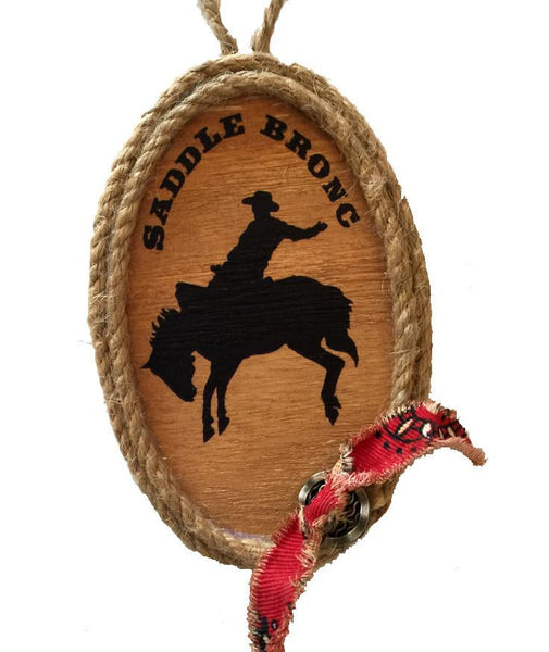 Wood Cowboy  Rodeo Saddle Bronc Rider Christmas Ornament