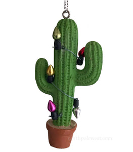 saguaro cactus with Christmas lights southwestern Christmas ornament from North Pole West
