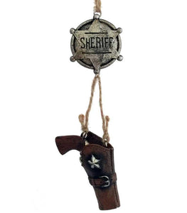 western sheriff badge with dangle gun holster cowboy Christmas ornament