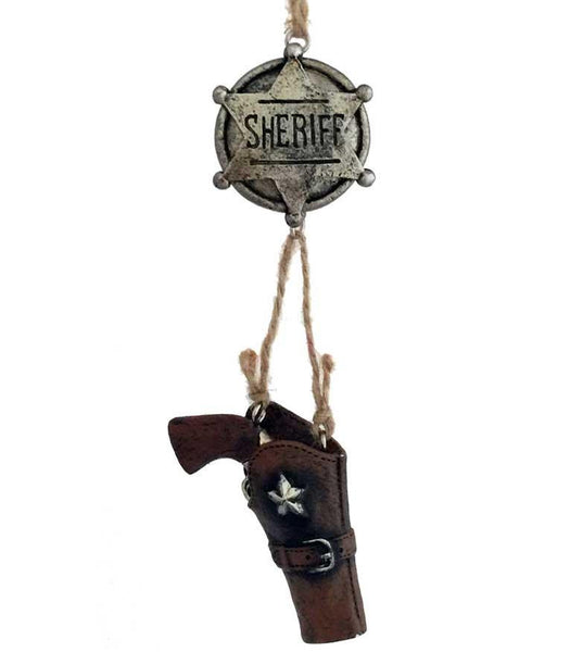 sheriff badge with dangle gun holster western Christmas ornament