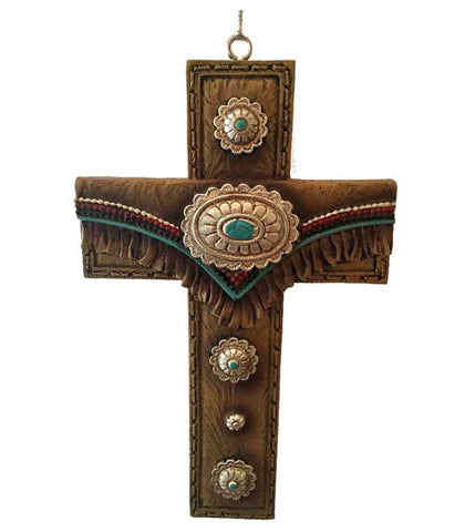 pretty southwestern cowboy style cross ornament with conchos good for Christmas, Easter or decor