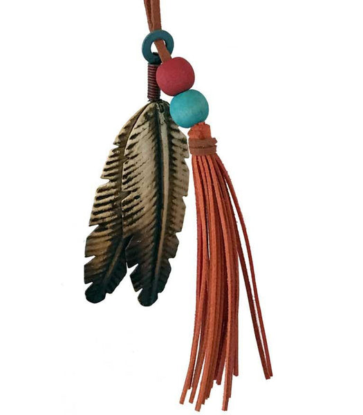 Southwestern style metal feathers Christmas tree ornament with beaded tassel is also great for crafts and decor projects